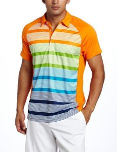 Puma Golf Men's Tech Raglan Stripe Polo Tee, White/Vibrant Orange, Large by PUMA. $70.00. Stay fresh and keep your swing smooth with this moisture wicking polo.