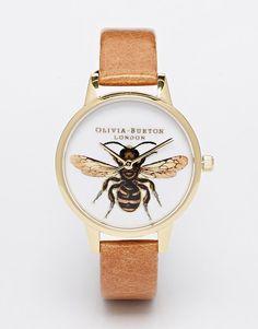 Olivia Burton Bee Tan Leather Strap Midi Dial Watch