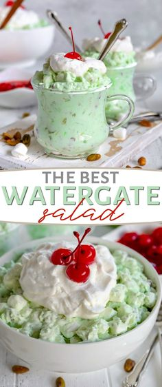 There is nothing better than Watergate Salad! This simple dumpandgo salad is a classic that makes it's way into every celebration because it's both incredibly delicious and incredibly easy Whip it is part of Watergate salad - Fluff Desserts, Jello Recipes, Köstliche Desserts, Delicious Desserts, Shot Recipes, Shrimp Recipes, Drink Recipes, Pistachio Fluff, Pistachio Dessert