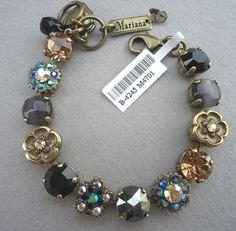 Mariana Handmade Black Gray Lt Topaz 4701 Swarovski Antique Goldtone Bracelet   eBay