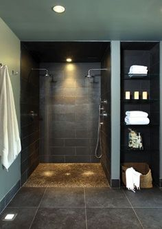I desperately want a wet room in our master bath. No glass to clean.  Bathroom ideas, bathroom interior design.