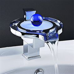 Special Offers Available Click Image Above: Color Changing Led Waterfall Bathroom Sink Faucet (unique Design) Cloakroom Sink, Bathroom Sink Faucets, Concrete Bathroom, Sinks, Glass Waterfall, Waterfall Faucet, Ideal Bathrooms, Modern Bathroom, Bathroom Ideas