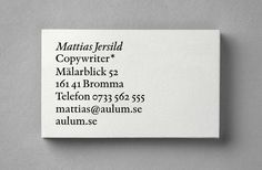 BVD — Mattias Jersild / Bench.li Perfect business card.