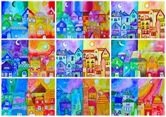 The view of a small village, with houses lumped together, is a nice way to learn and create warm & cool colors. Half of the village is surrounded by the cool colors of the night, and the other … Color Art Lessons, Art Lessons For Kids, Art Lessons Elementary, Kids Watercolor, Watercolor Projects, Watercolor Drawing, Warm Vs Cool Colors, Primary School Art, Inspiration Artistique