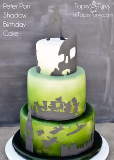 Peter Pan Shadows birthday cake- cut with my silhouette machine, ombre edible spray paint