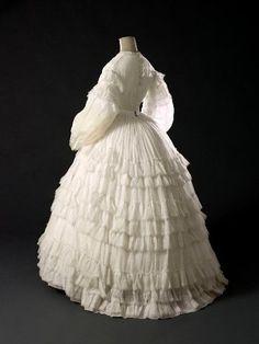White muslin wedding (?) dress, ca. 1861   In the Swan's Shadow