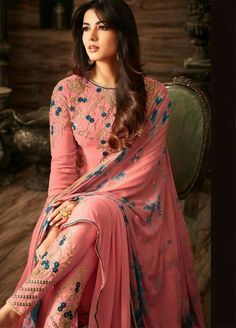 Sonal chauhan pink georgette anarkali 4808 is part of Pakistani dresses - Buy Sonal chauhan pink georgette anarkali 4808 online in USA, UK and Canada from KollyBollyEthnnics com Trajes Pakistani, Pakistani Dresses, Indian Dresses, Indian Outfits, Punjabi Dress, Punjabi Suits, Anarkali Suits, Salwar Designs, Kurti Designs Party Wear