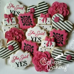 Kate Spade inspired black, white, gold and hot pink engagement bridal shower decorated sugar cookies