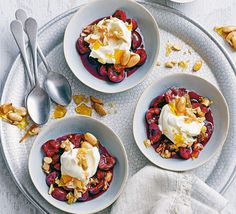 Plump, glossy cherries poached in Prosecco, topped with crunchy almond brittle and creamy mascarpone makes for the perfect summer dessert