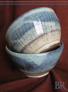Barbarah Robertson Pottery - Set of 2 Soup Bowls  Stoneware Pottery  Blue  - beautiful glaze