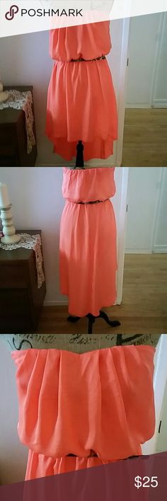 Bright summer dress. Bright coral/orange summer strapless dress.  Fully lined, cute thin animal print belt.  High low hemline.  NWOT City Triangles Dresses High Low