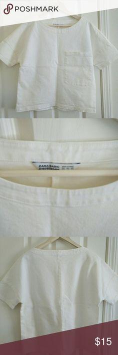 ZARA BASIC DENIM TEE TOP XSMALL Like new condition Zara Tops