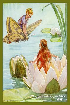 The Waterlilly Fairies by Margaret Tarrant from 1915. Quilt Block of vintage fairy image printed on cotton. Ready to sew. Single 4x6 block $4.95. Set of 4 blocks with pattern $17.95.