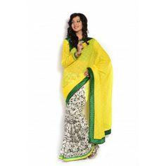#Designer #Cotton Saree Shop now : http://www.valehri.com/yellow-and-cream-cotton-full-saree-with-raw-silk-blouse-1724