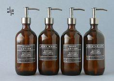 Distributeur de savon bouteille verre ambre avec pompe par ByMeHome