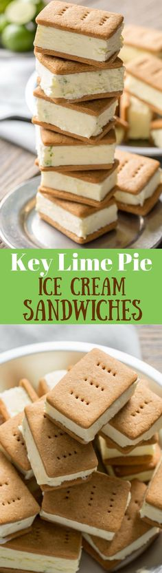 Key Lime Pie Gelato Sandwiches Key Lime Pie ~ Ice Cream Sandwiches – with homemade graham crackers and key lime gelato for a wonderful summer treat! Ice Cream Pies, Ice Cream Desserts, Frozen Desserts, Ice Cream Recipes, Frozen Treats, Just Desserts, Dessert Recipes, Lemon Desserts, Health Desserts