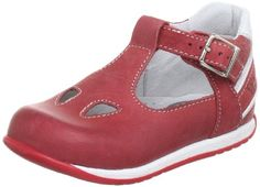 Walk Safari DUE OCCHI – Zapatos de primeros pasos de cuero bebé, color rojo, talla 21