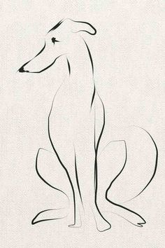 "From Sally Muir's ""A Dog a Day"" collection, which features different canines created in a variety of styles. Even with only a few lines, Muir has an uncanny ability at capturing dogs, instantly marking their breed & breathing character into their forms."