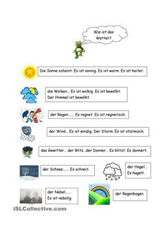 Wie ist das Wetter? Teaching Materials, Teaching Resources, German Resources, German Grammar, German Language Learning, Learn German, New Words, Kids Learning, Worksheets