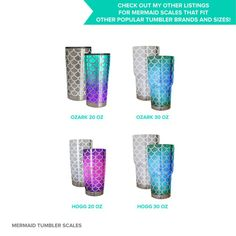 Connected, full-sheet Mermaid scales SVG cutting file for HOGG 30 oz steel tumbler | Etsy
