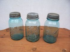 Set of 3 Vintage Blue Ball  Mason Jars by trufflepigtreasures, $18.00