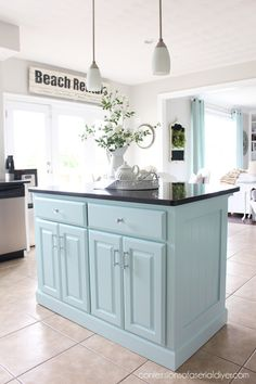 Kitchen Island Makeover with Beadboard Rustic Kitchen Decor, Kitchen Decor Themes, Home Decor Kitchen, Home Kitchens, Country Kitchen, Kitchen Ideas, Glass Kitchen, New Kitchen, Gold Kitchen