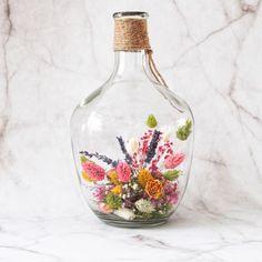 Fles met droogbloemen | Droogbloemen | meersfeer