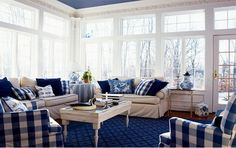 I Love The Large Scale Plaid! Nautical Living Room | Living Room Interior  Design Nautical