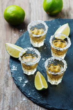 Gold tequila with lime and salt by oxana.denezhkina on Creative Market Party Drinks Alcohol, Drinks Alcohol Recipes, Alcoholic Beverages, Mexican Food Recipes, Healthy Recipes, Ethnic Recipes, Mezcal Tequila, Vodka Sangria, Tequila Shots