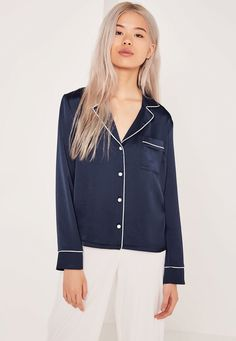 79e578b73a pyjama blouse navy missguided Blue Blouse