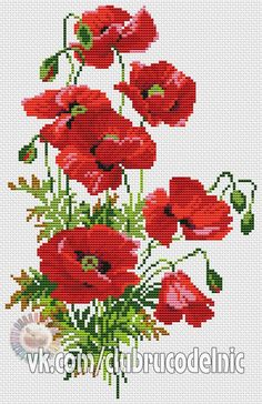 Poppies Cross Stitch Kit from Classic Embroidery Tiny Cross Stitch, Cross Stitch Flowers, Cross Stitch Designs, Cross Stitch Patterns, Cross Stitching, Cross Stitch Embroidery, Flower Pattern Drawing, Cross Stitch Pictures, Beaded Cross