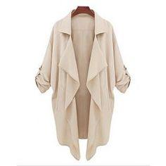 Pockets Design Long Sleeve Turn Down Collar Asymmetrical Hem Women's Coat