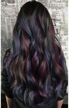 """Oil slick"" hair color... LOVE"
