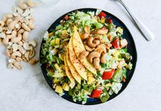 cashew chicken chopped salad with chili dusted mango - howsweeteats.com