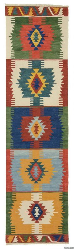 New kilim runner rug hand-woven with vegetable-dyed and hand-spun wool in Turkey. The fringes can be removed upon request. If you like the design of this rug, we can custom make it to meet your color and size requirements. Patchwork Rugs, Kilim Runner, Custom Rugs, Turkish Kilim Rugs, Vintage Rugs, Hand Weaving, Yellow Rug, Blue Yellow, Fringes