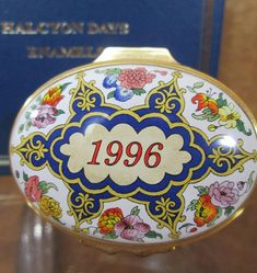 Halcyon Days Enamel Box, 1996 A Year to Remember with Original Display Box