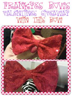 http://www.facebook.com/frankyesbows    red lace bow giveaway sweep contest valentines