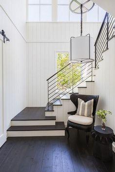 Vertical shiplap and ebony white oak floors Interior Design Ideas