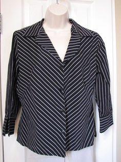 White House Black Market black shirt blouse white stripe women XL 3/4 Sleeve #WhiteHouseBlackMarket #Blouse