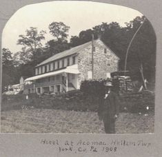 In 1775 the Accomac Inn was constructed along the Susquehanna River at the site of Anderson's Ferry, which was chartered in 1742. The ferry was the primary crossing site of the Susquehanna River in colonial times. Photo here is of The Accomac Inn in 1908. Hellam Twp., York, PA