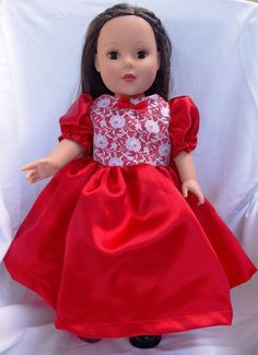 American Girl Doll Clothes 18 in Doll Red Dress by SouthernSister2, $18.00