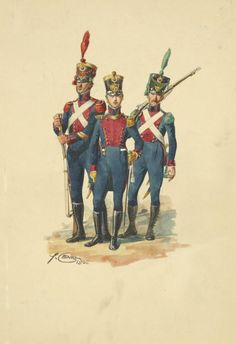 Carabiniere, ufficiale dei cacciatori e Volteggiatore del 3 rgt. fanteria leggera del regno di Napoli