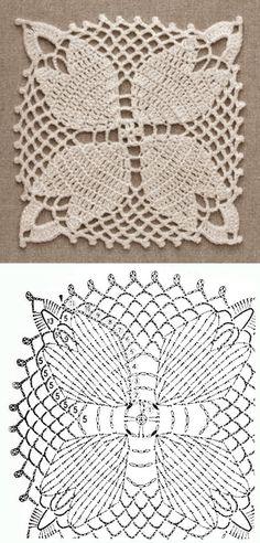 Crochet Motif Patterns, Crochet Blocks, Granny Square Crochet Pattern, Crochet Diagram, Crochet Squares, Crochet Art, Thread Crochet, Love Crochet, Crochet Stitches