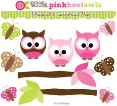 Pink Owl Clipart @Erin B Bradley Designs. Adorable appliqué for a baby quilt/blanket.