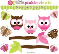 Pink Owl Clipart @Erin B B Bradley Designs