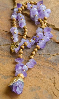 Chunky Amethyst Wood Necklace