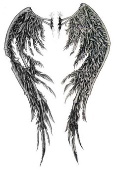 """I want a pair of black Angel wings on my back. To me, the significance of them being black symbolizes that we all have good and evil inside of us. We've ALL """"fallen"""" at one time or another. It's how we choose to rise and live our lives and the actions that we take and the way we respond that is the true test of faith and life itself. I love the dichotomy of it all. This is one of those I'm trying to choose from..."""