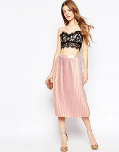 LOve this for spring - ASOS light pink metallic midi pleated skirt....
