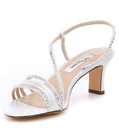 4c0f6f3f8c09e Silver:Nina Gerri Metallic Rhinestone Faux Suede Dress Sandals Silver  Glitter Heels, Dress Sandals