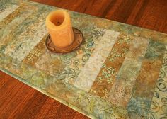 Batik Quilted Table Runner in Shades of Gold Yellow and Blue, Quilted Table Topper, Coffee Table Runner, Dining Table Decor, Dresser Runner by SusiQuilts on Etsy